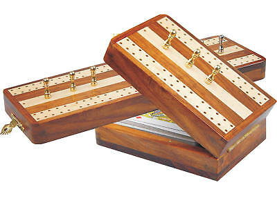 "Regalia Folding Cribbage Board / Box in Golden Rosewood / Maple 10"" - 2 Tracks"