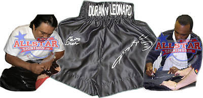 Roberto Hands Of Stone Duran & Sugar Ray Leonard Dual Signed Boxing Trunks Proof
