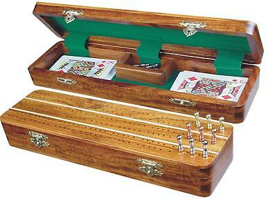 "Sovereign Cribbage Board / Box in Golden Rosewood / Maple 12"" - 3 Tracks"