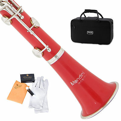 MENDINI RED ABS Bb CLARINET W/ CASE,CARE KIT,11 REEDS FOR STUDENT, BEGINNER
