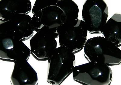 100 drop faceted crystal glass beads lot 12mm jet black