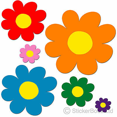 78 Daisy Flower Stickers Decals Car | Wall - Choose any 6 Colours