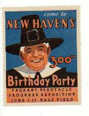 US POSTER STAMP NEW HAVEN CT 300TH BIRTHDAY @ YALE FIELD