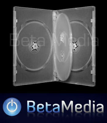 3 x Quad Clear 14mm Quality CD / DVD Cover Case - HOLDS 4 Discs