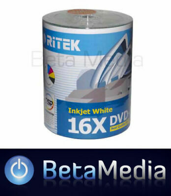 100 x Ritek Blank DVD-R media 16X 4.7GB Full Hub Printable DVD -R Discs