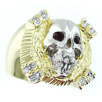 Mens Skull Head Ruby Red Eye 18kt Gold Plated Ring New
