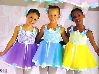 New Girls Dance Costumes Pastel Flowers Lace Ballet