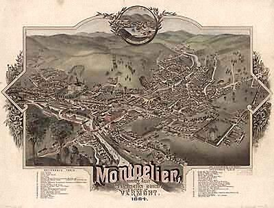 28 Antique Vintage Panoramic Maps of Vermont VT on CD