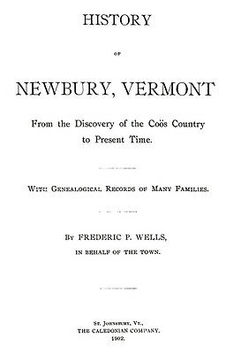 1902 Genealogy & History of Newbury Vermont VT