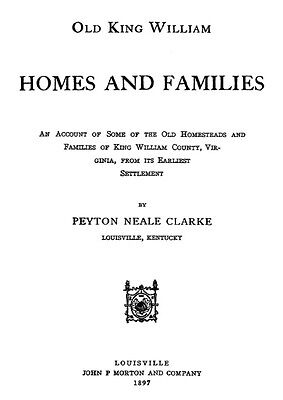 Genealogy of King William Co Virginia Homes Families VA