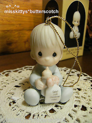 Precious Moments~ORNAMENT~Babys First Christmas~1985~boy~15903