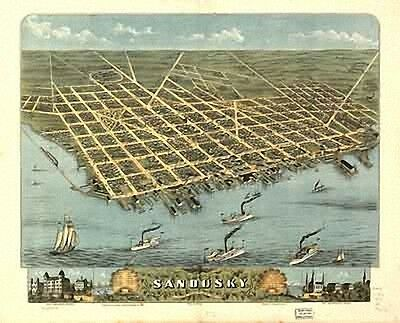 45 Antique Historic Panoramic Maps of Ohio OH on CD