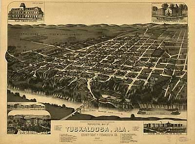 Antique Historic Panoramic Maps of Alabama AL on CD