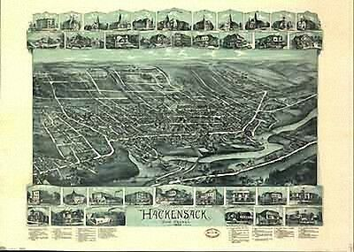 42 Antique Panoramic Maps of New Jersey NJ on CD