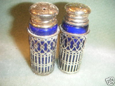 Cobalt Blue Glass & Silver Scrolled Metal Salt &Pepper Shakers