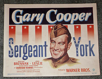 SERGEANT YORK original WB movie poster GARY COOPER/HOWARD HAWKS