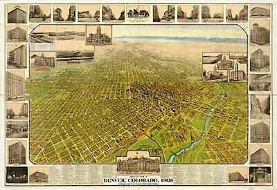 26 Antique Panoramic Maps of Colorado CO on CD