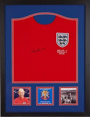 Framed Bobby Charlton Signed England 1966 Fifa World Cup Football Shirt