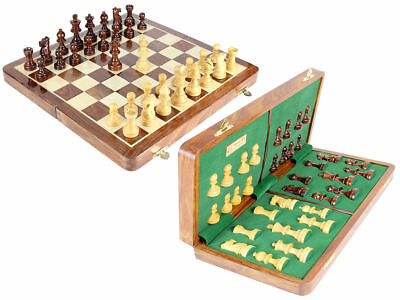 """Wood Chess Set+ Chess board 16"""" folding + Leather case"""