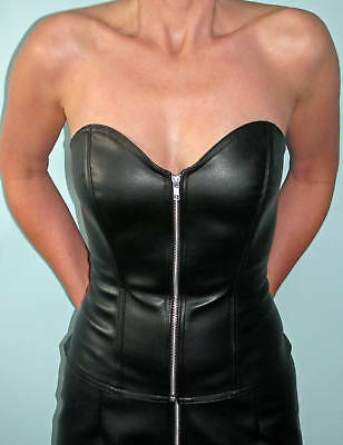 Sexy black Skin Tight Clothing faux leather bustier all sizes