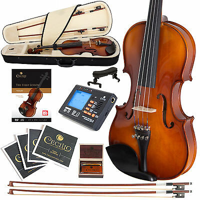New Cecilio 1/4 Ebony Fitted Violin +Tuner+Books