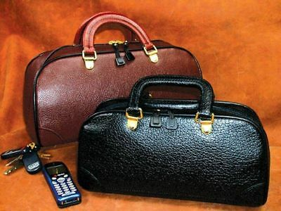 "Zippered Leather Physician Bag 12"" Black Pebble Finish"