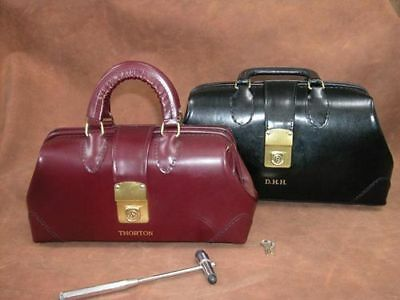 """Specialist Leather Physician Bag 12"""" - Black Pebble"""