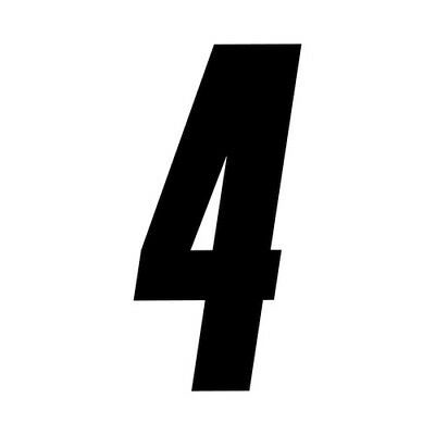 3 inch tall Black Race Number 4 racing numbers decals