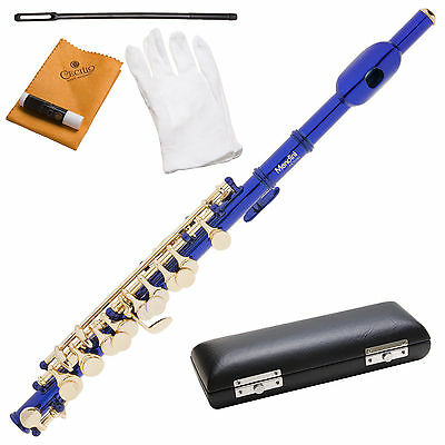 Mendini Blue Lacquered Key Of C Piccolo Plus Case