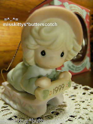 Precious Moments~ORNAMENT~587788~DATED 1999~SLED~Slide Into The New Millennium