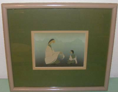 Picture of Parent & child Green  Mat  Framed Print