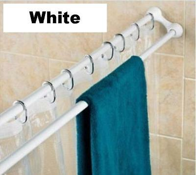 Extendable DOUBLE SHOWER TOWEL RAIL Rod White or Chrome 75-125 OR 125-225cm