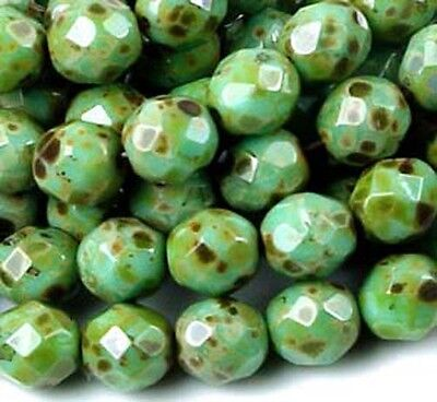 25 Firepolish Czech glass Round Turquoise - Picasso 8mm
