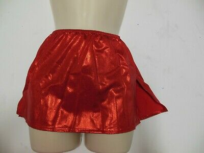 NEW FOIL RED Pullup dance skirt with attached trunks