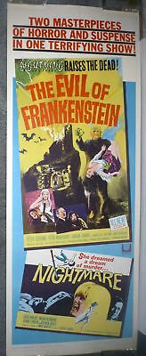 THE EVIL OF FRANKENSTEIN Rare Poster PETER CUSHING original 14x36 insert HAMMER