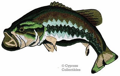 LARGE MOUTH BASS PATCH embroidered iron-on FISHING FISH largemouth NOVELTY GIFT