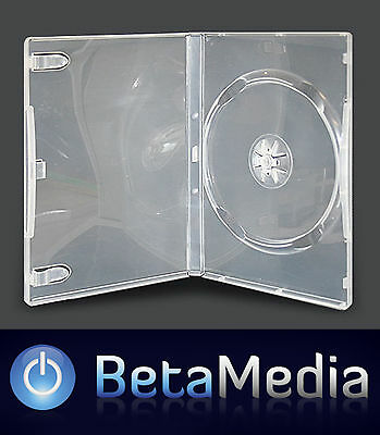 25 x Single Clear 14mm Quality CD / DVD Cover Cases - Standard Size DVD case