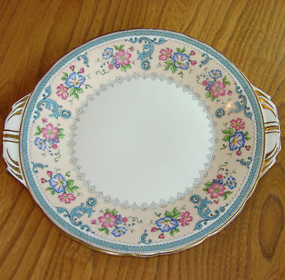 Aynsley Cake Plate pink border decorated with Clematis