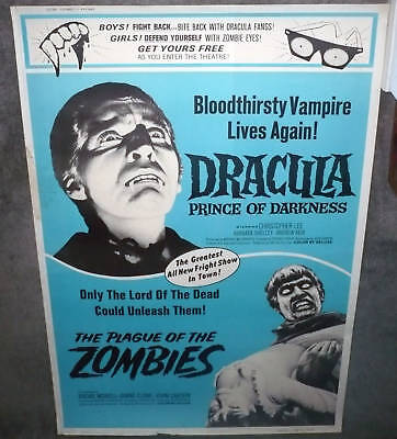 DRACULA PRINCE OF DARKNESS/PLAGUE OF THE ZOMBIES original large 40x60 poster