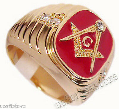 Mens Red 5th Masonic Mason 18kt Gold Plated Ring New