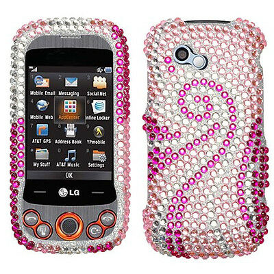 For LG Neon II GW370 Crystal Diamond Bling Hard Case Snap Phone Cover Pink Tail