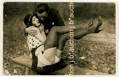 LOVERS SMOOCHING ON BENCH Cotton Pants * BIEDERER RPPC