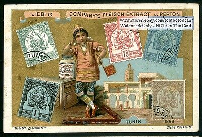 Stamps And Children Of Tunisia NICE c1898 Card