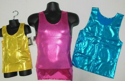 NEW MENS/BOYS FOIL SPANDEX DANCE TANK Many Color Choices COSTUME DANCE