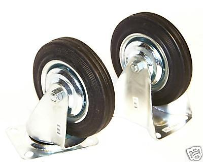 "2 Fixed 2 Swivel 5"" Caster Rubber Wheel With Bearings 4Pcs Set"