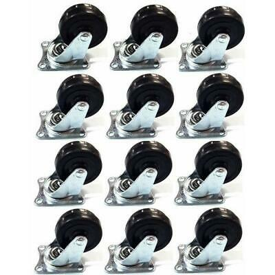 """36 Pc 2"""" Swivel Caster Wheels Rubber Tires With Ball Bearing  Swivel Base Set"""