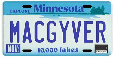 Macgyver TV Show Minnesota License Plate
