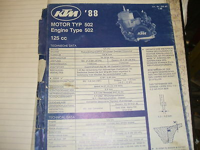 ktm 125 mx type 502 1988 engine parts catalogue book