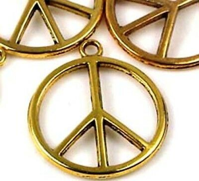 6 Antique Gold Pewter Peace Sign Filigree Charm Pendant 24mm