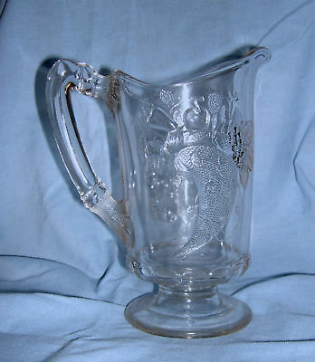 ca 1885 Pattern Glass Cornucopia Dalzel Water Pitcher